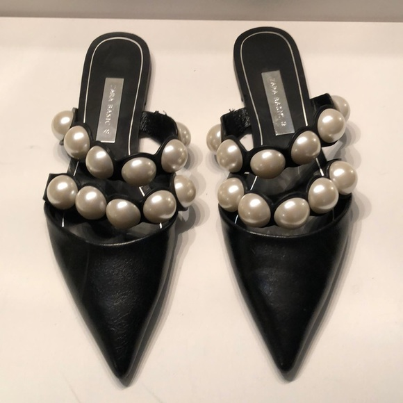 Zara Shoes - Zara basic large pearl embellished slides .